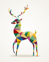 Canvas Prints Geometric animals Merry Christmas trendy abstract reindeer EPS10 file.