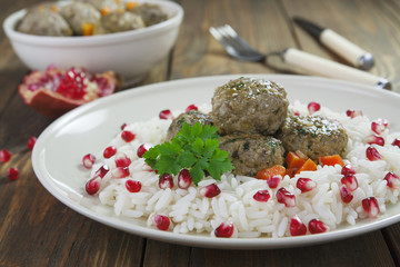 Meatballs with rice in oriental