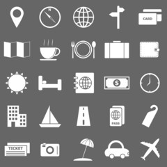 Travel icons on gray background