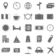 Travel icons on white background