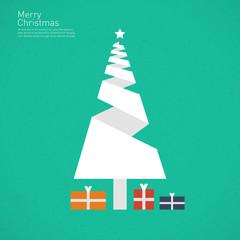 Christmas tree - origami style flat design background