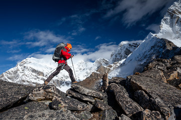 Hiker on the trek in Himalayas, Khumbu valley, Nepal Wall mural