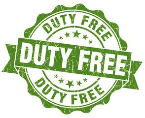 duty free green grunge stamp on white background