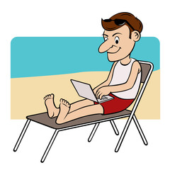 man on the beach typing on his laptop while sitting