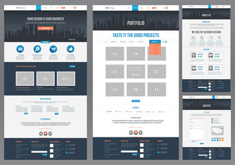 Flat Website Template (Homepage, Portfolio, About, Contact)