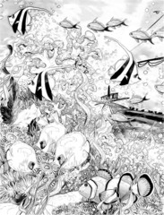 The coral reef - coloring page - illustration