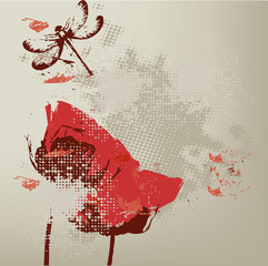 vintage background with red flowers, poppies