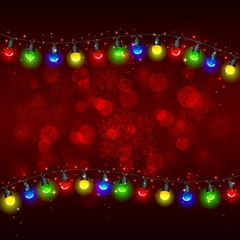 Christmas light on red background