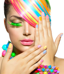Tuinposter Beauty Beauty Girl Portrait with Colorful Makeup, Hair and Accessories