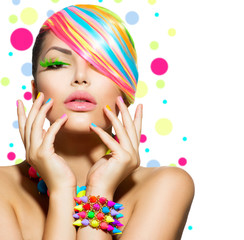 Wall Mural - Beauty Girl Portrait with Colorful Makeup, Nails and Accessories