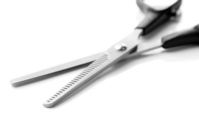 Hairdressing scissors, isolated on white
