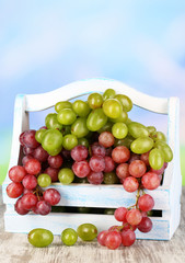 Ripe green and purple grapes in basket