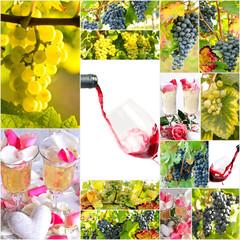 Fototapete - Winzer-Collage: Trauben, Wein, Gläser, Sekt