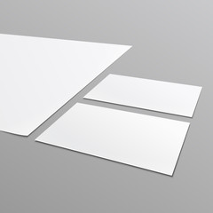 Blank stationery layout, A4 paper, business card.