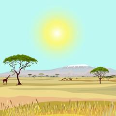 Printed kitchen splashbacks Light blue African Mountain idealistic landscape