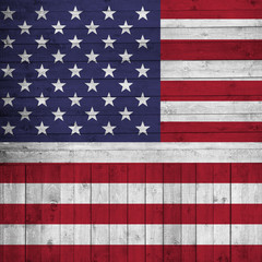 American flag, wooden background