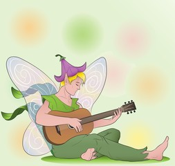 flower fairy boy with guitar