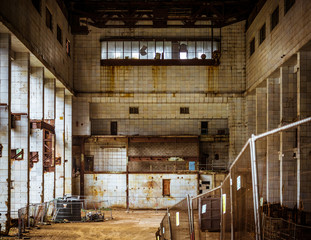 Abandoned and derelict industrial interior