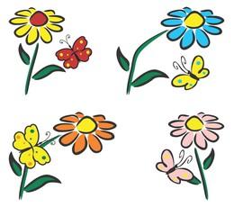 Flowers whit butterflies