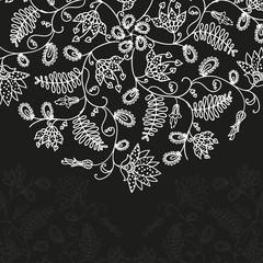 Vector chalkboard  floral pattern