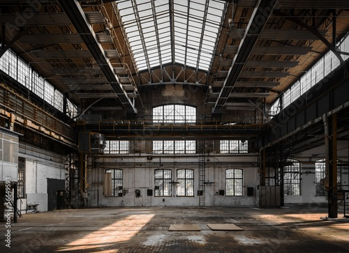 Fototapete Industrial interior of an old factory