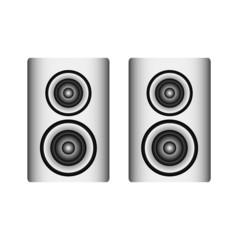 twin silver loudspeaker on white, vector illustration