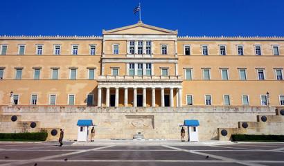 Le Parlement de Grèce et sa Garde par les Evzones à Athènes
