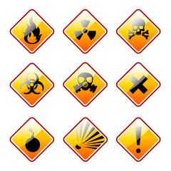 Orange warning signs