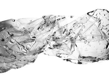 drop of water in twisted plastic bottle