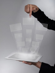 finger shows a window with tablet