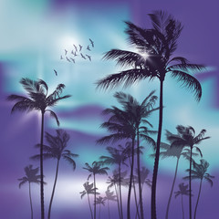 Wall Mural - Palm trees at night in moonlight