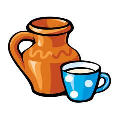 Vector clay jug and a cup of milk