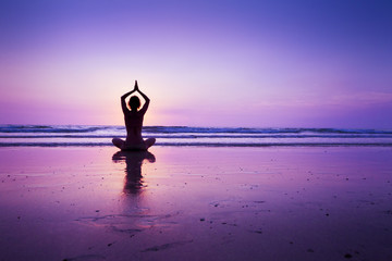 Printed roller blinds Yoga school Woman practicing yoga on the beach
