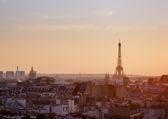 View over Paris with Eiffel Tower at sunset