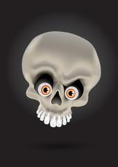 vector cartoon skull with silver teeth