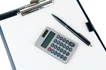 Calculator and pen on folder with paper  close up