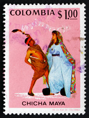 Postage stamp Colombia 1971 Dancers and Music, Currulao