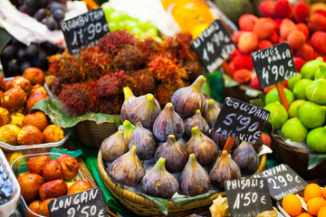 Colourful fruit,figs,market stall in Boqueria market,Barcelona