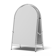 white advertising stand