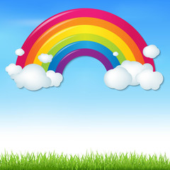 Color Rainbow With Clouds And Grass