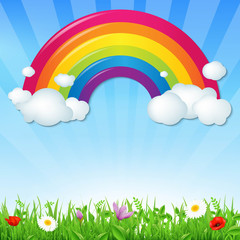 Color Rainbow With Clouds Grass And Flowers