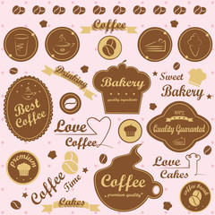 Bakery Labels Set - On Stain Background