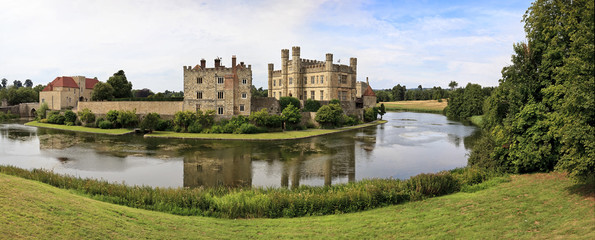 Panoramic view of Leeds Castle and moat, England, UK