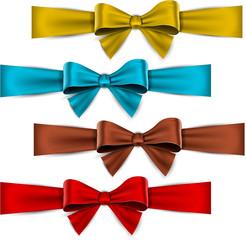 Satin color ribbons. Gift bows.