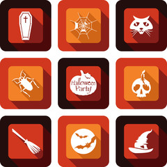 Happy Halloween party icon design set