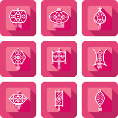 Contemporary Chinese Lanterns design icon set in paper cut style