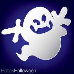 Ghost concave Halloween card in vector format