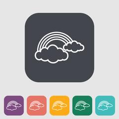 Rainbow single flat icon.