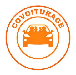 Fototapete - covoiturage sur bouton web rond orange