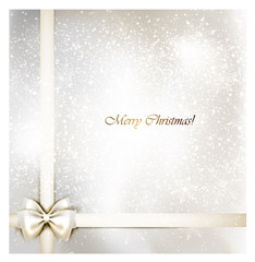 white Christmas background with bow.